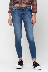 Cello Mid Rise Fray Hem Crop Skinny