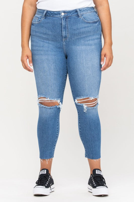 Cello Curvy High Rise Ripped Mom Skinny