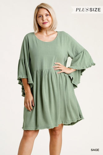 3/4 Bell Sleeve Dress *4 COLORS* S-3X