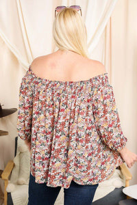 FLORAL SMOCKED OFF SHOULDER TOP CURVY