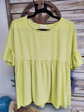Load image into Gallery viewer, Textured Baby Doll Top- Lime