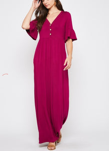 Magenta Button Front Maxi Dress