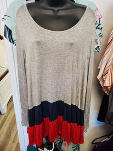 Navy and Red Colorblock Top- Curvy