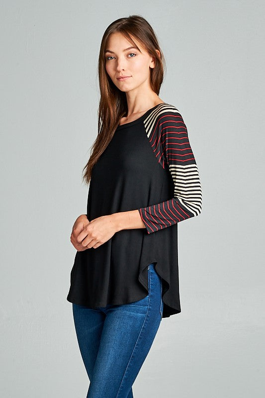 Solid Jersey Raglan Tunic Top Black and Red