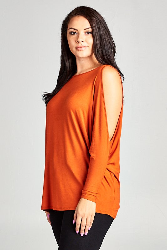 Rust Open Shoulder Solid Jersey Tunic Top S-3X