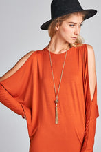 Load image into Gallery viewer, Rust Open Shoulder Solid Jersey Tunic Top S-3X
