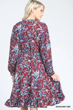 Load image into Gallery viewer, Burgundy Floral Dress