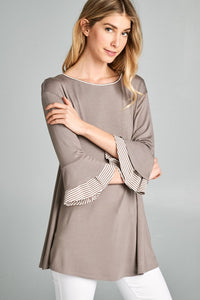 Solid Jersey Tunic Top with Striped Bell Sleeve S-3X *5 COLOR OPTIONS AVAILABLE*