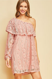 Blush Lace One-Shoulder Dress