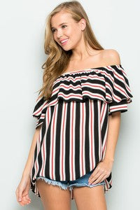 Striped Off Shoulder Top Red and Black