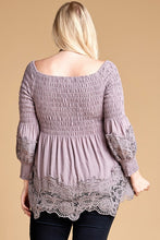 Load image into Gallery viewer, Crochet-Trim Off-the-Shoulder Babydoll Lace Top Curvy