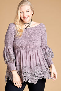 Crochet-Trim Off-the-Shoulder Babydoll Lace Top Curvy