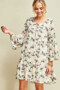 FLORAL PRINT DROP WAIST SHIFT DRESS