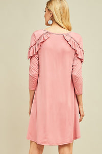 Round Neck Ruffle Sleeve Dress *2 colors*