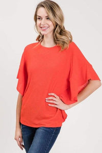 Tomato Red Ruffle Top