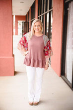 Load image into Gallery viewer, Berry Waffle Knit Top with Boho Accent Sleeve