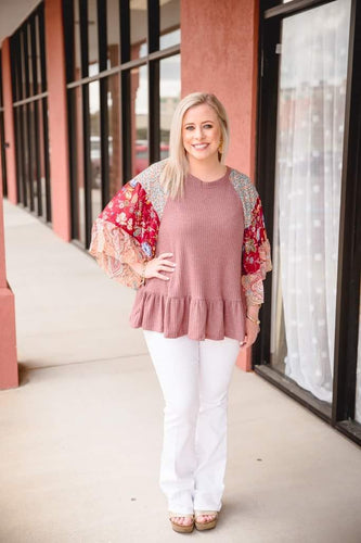 Berry Waffle Knit Top with Boho Accent Sleeve