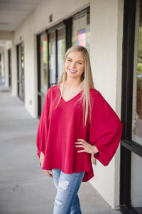 Burgundy Balloon Sleeve Top S-3x