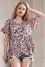 Load image into Gallery viewer, Pink Leopard Baby Doll Top