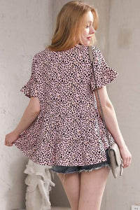 Pink Leopard Baby Doll Top