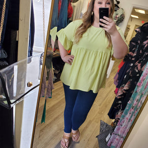 Textured Baby Doll Top- Lime