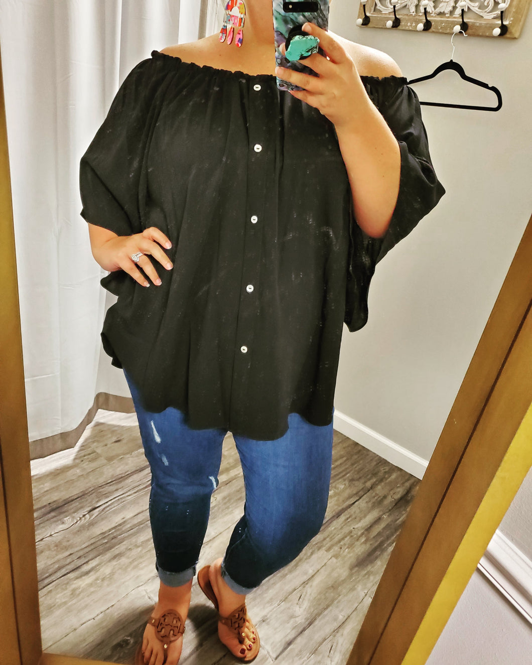 Black Off Shoulder Top with buttons Curvy