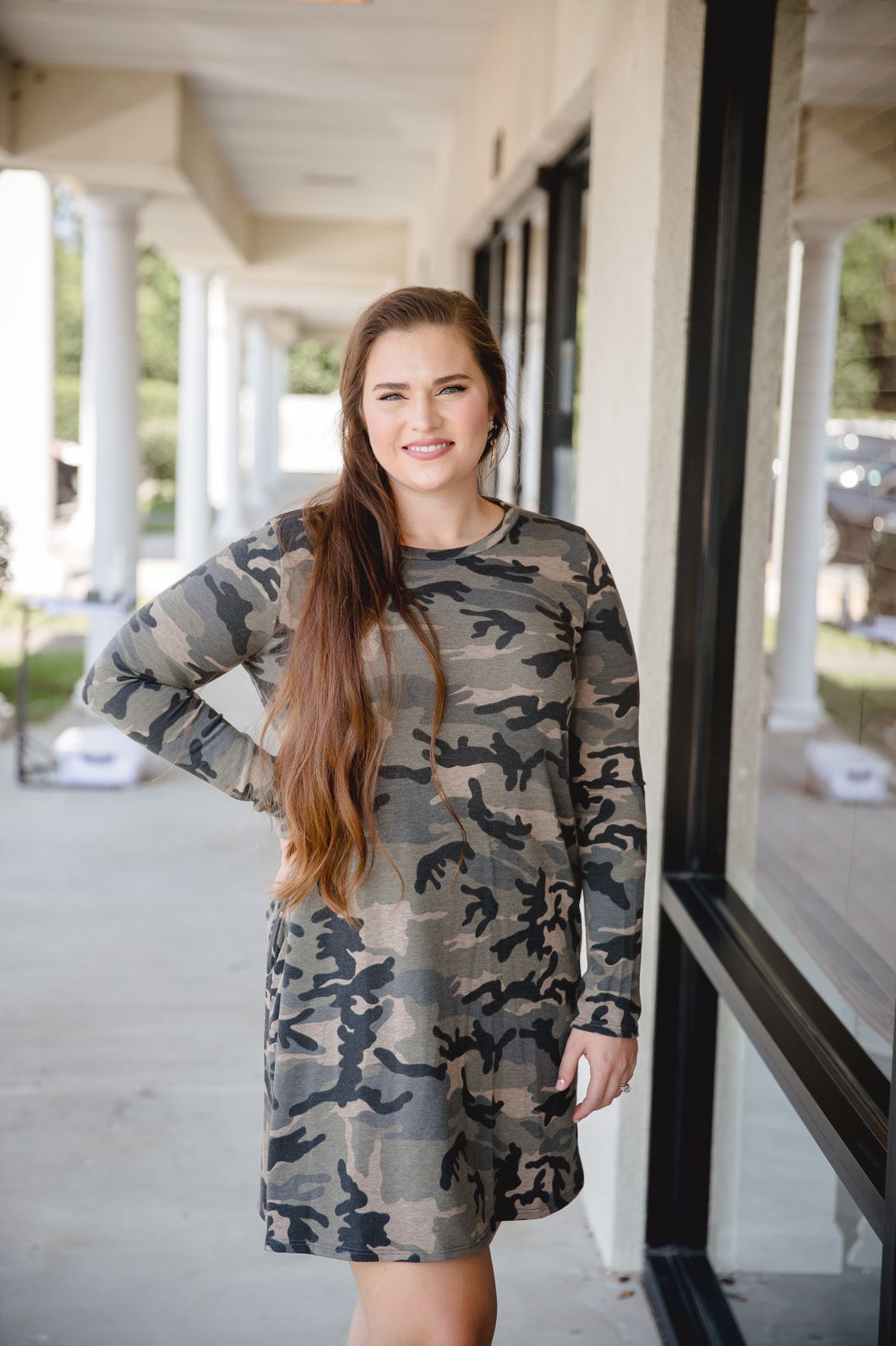 CAMOUFLAGE PRINT SWING DRESS