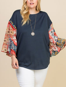 Navy Twist Back Top- Curvy