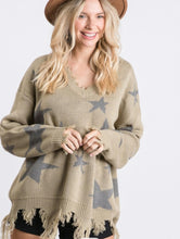 Load image into Gallery viewer, Star Olive Distressed Sweater S-3X