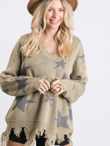 Star Olive Distressed Sweater S-3X