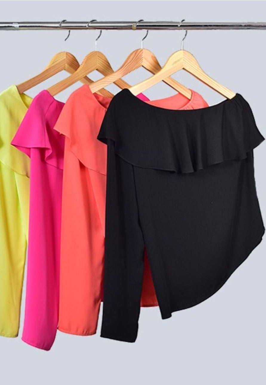 One Shoulder Ruffle Top *Available In 3 Colors*