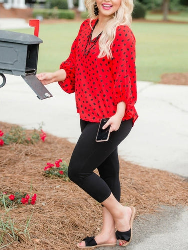Black and Red Puff Sleeve Top