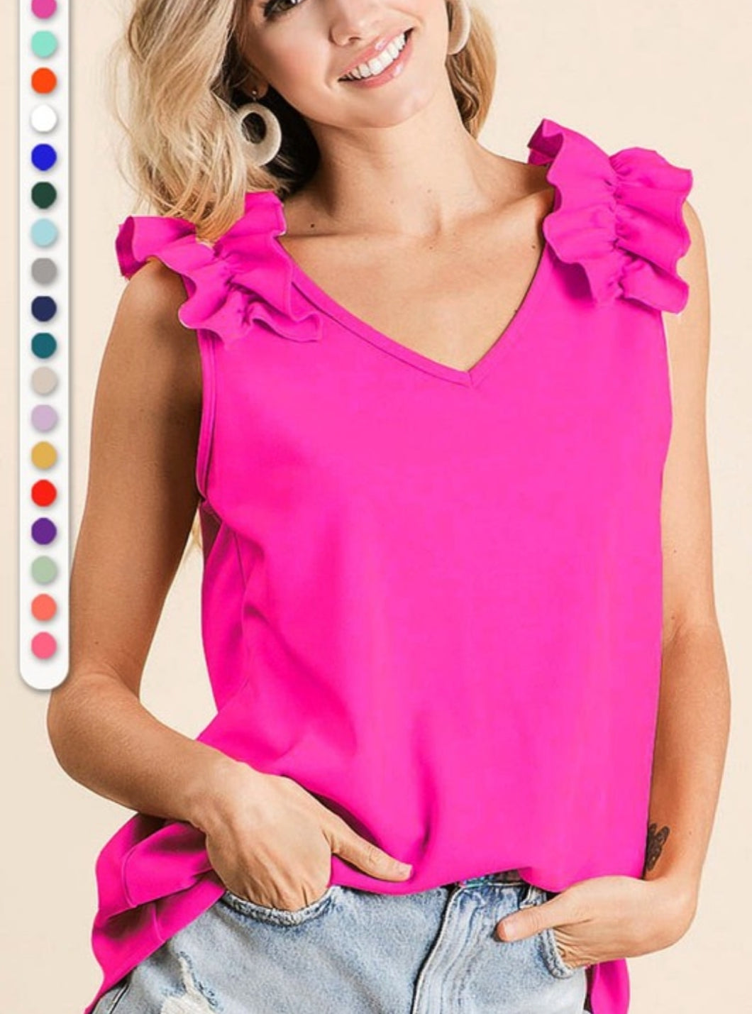 Ruffle Sleev Tank Top *4 Available Colors* S- XL