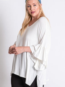 Curvy Ruffle Sleeve Top in 2 colors