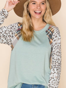 Sage Plaid Shoulder Top S-3X