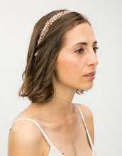 Load image into Gallery viewer, Model wearing pink pearl Alice headband
