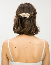 Load image into Gallery viewer, Woman with hair comb covered in pearls wrapped with chiffon in her hair