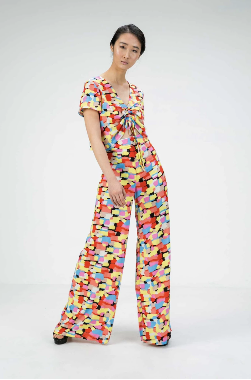 Activist patterned wide leg pant