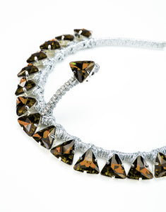 handmade silver headband with topaz triangle crystals and forehead crystal detail