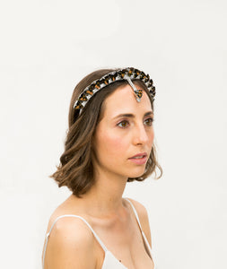 Model wearing handmade silver headband with topaz crystal details