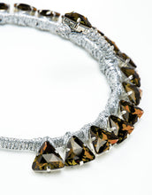 Load image into Gallery viewer, Close up of Handmade silver headband with topaz triangle crystals