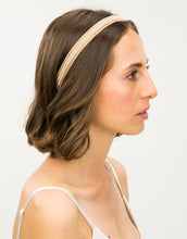 Load image into Gallery viewer, Side profile of a model wearing a pearl beaded, lace trimmed headband with a felt backing
