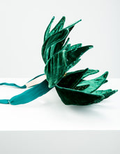 Load image into Gallery viewer, Side view of velvet emerald flower headband with wire headband and green ribbon fastening