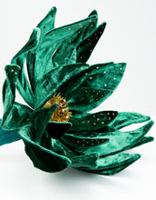 Load image into Gallery viewer, Close up of a velvet flower fascinator with Swarovski pearls, crystals and Japanese glass bead detailing