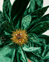 Load image into Gallery viewer, Close up of an emerald green velvet flower fascinator with yellow bead detailing in centre of flower