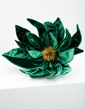Load image into Gallery viewer, An emerald green velvet flower fascinator with yellow bead detailing in centre of flower