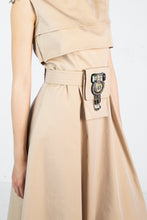 Load image into Gallery viewer, Close up of utility belt with embroidered detail on tan dress