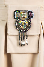 Load image into Gallery viewer, Tan belt pouch with ceramic embroidered detail