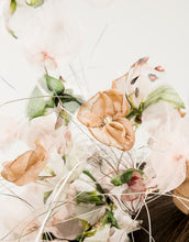 Load image into Gallery viewer, Close up of pastel silk petals with crystal centres hanging on silver wire