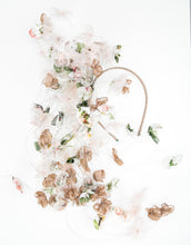 Load image into Gallery viewer,  Fascinator with pastel silk petals on silver wire cascading off a metallic gold wire headband